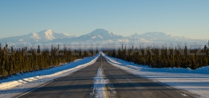 Alaska Highway 1 looking at Wrangell - St. Elias NP, AK
