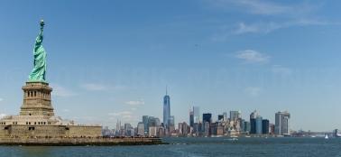 Statue of Liberty, One World Trade Center, & Lower Manhattan, NY
