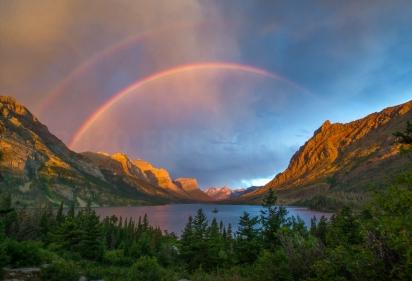 Double Rainbow Sunrise, Glacier National Park, MT